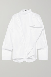 Ellery Richter convertible draped cotton-poplin shirt