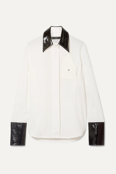 ELLERY | Ellery - Thesis Oversized Faux Patent Leather-trimmed Crepe Shirt - Ivory | Goxip