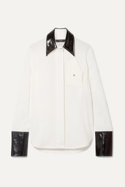 Thesis oversized faux patent leather-trimmed crepe shirt