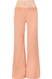Stretch jersey-paneled crepe flared pants