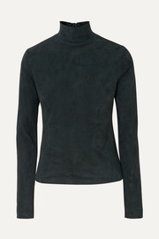 The Row Beatty suede turtleneck top