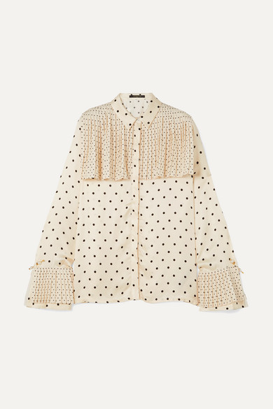 MOTHER OF PEARL | Mother of Pearl - Jasper Pleated Polka-dot Satin Shirt - Ivory | Goxip