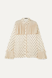 Jasper pleated polka-dot satin shirt