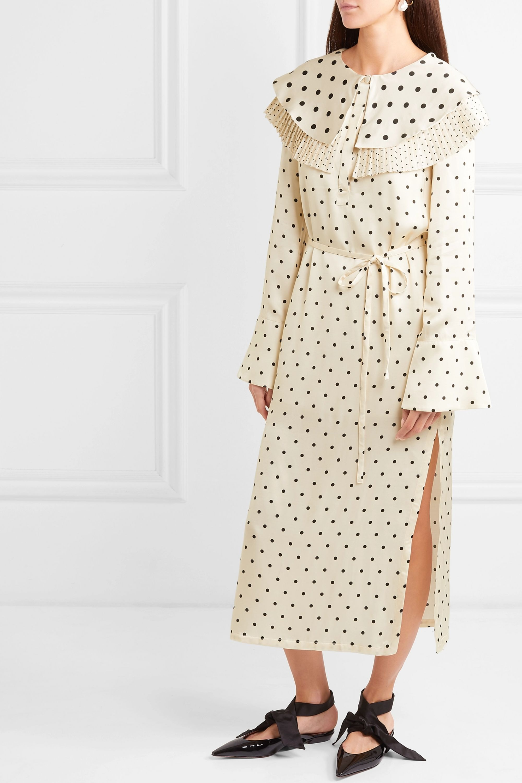 Mother of Pearl Lenox pleated polka-dot satin midi dress