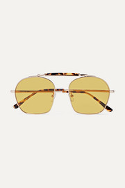 Samui round-frame tortoiseshell acetate and metal sunglasses