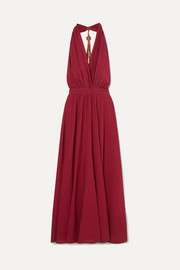 Caravana Nuup leather-trimmed cotton-gauze halterneck maxi dress
