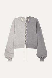 Lace-up cotton-jersey sweatshirt