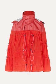 Unravel Project Hooded ruched crinkled-shell jacket