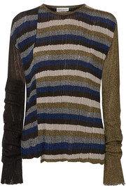 Metallic striped ribbed-knit sweater