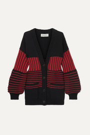 Paneled striped cotton-blend ribbed-knit cardigan