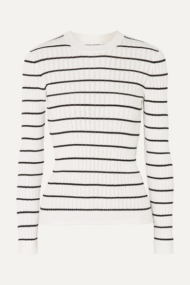 Striped Ribbed Knit Cotton Blend Top by Sonia Rykiel