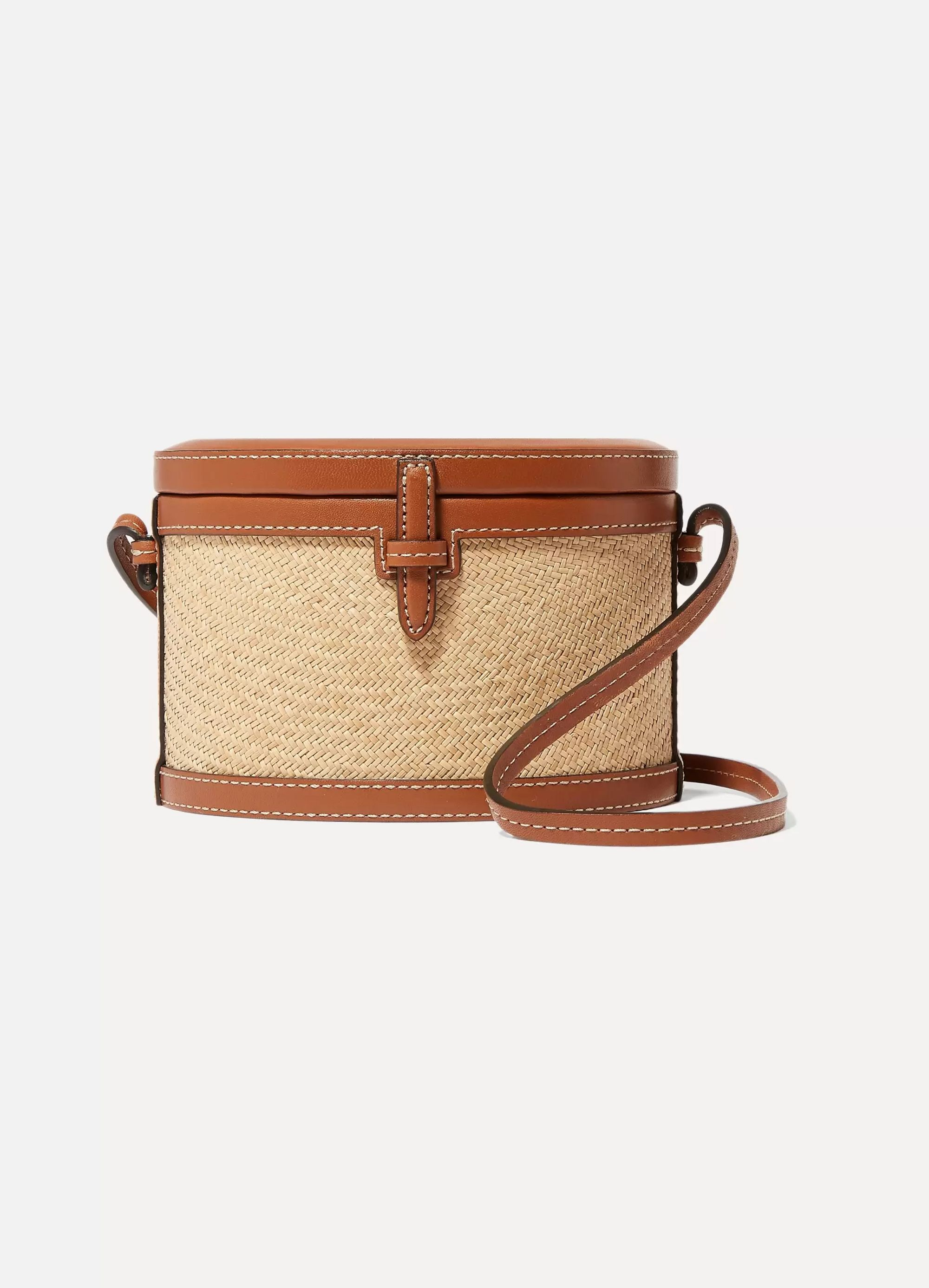 Hunting Season Trunk mini leather and raffia shoulder bag