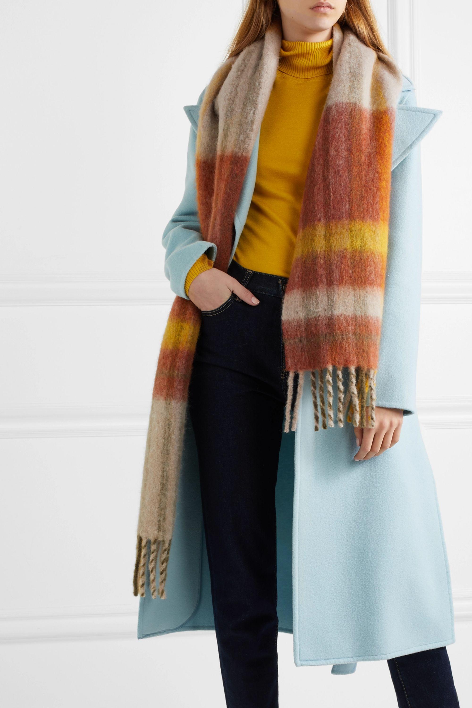 Holzweiler Aster fringed checked alpaca-blend scarf