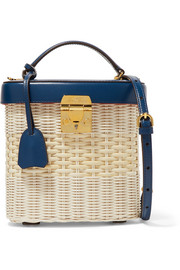 Mark Cross Benchley leather and rattan shoulder bag