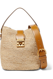 Murphy leather-trimmed raffia bucket bag