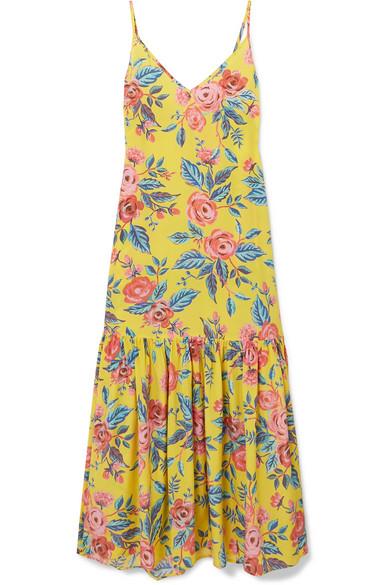 Elke Floral-Print Silk Crepe De Chine Maxi Dress in Yellow