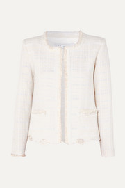 Wondrous distressed cotton-blend bouclé jacket