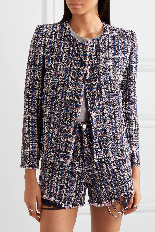 IRO Frannie distressed cotton-blend tweed jacket