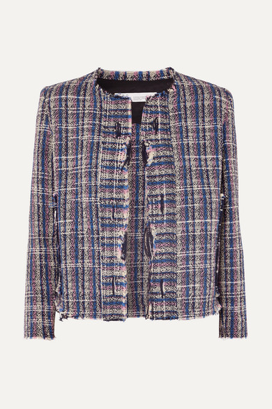 IRO Frannie Distressed Cotton-Blend Tweed Jacket in Blue
