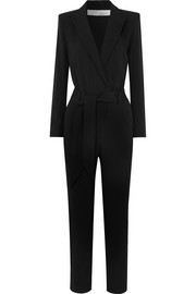 Delicate belted wrap-effect crepe jumpsuit