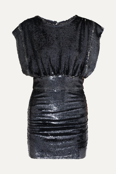 Miracle Sequin Crewneck Short-Sleeve Mini Dress in Anthracite