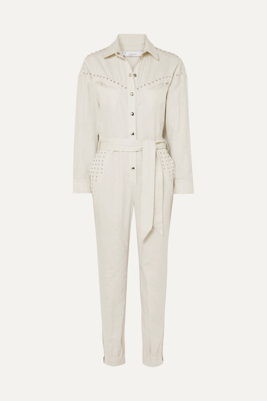 b7a84108c0d IRO. Belted embellished linen and cotton-blend jumpsuit