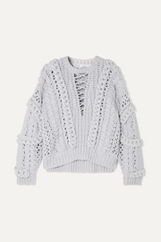Fresh cable-knit cotton-blend sweater