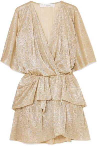 IRIEDAILY | IRO - Ruffled Lamé Mini Dress - Beige | Goxip