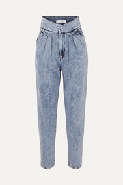 IRO Staunch pleated high-rise tapered jeans