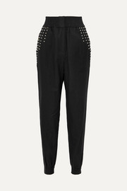 Richly studded linen-blend tapered pants
