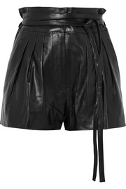 Stable pleated leather shorts