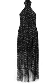 Jacquemus Cortese fringed bouclé halterneck maxi dress