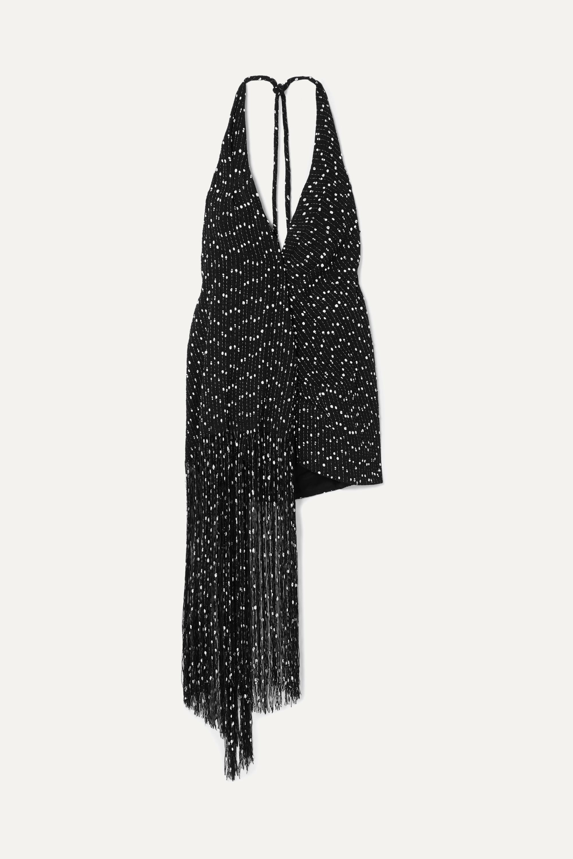 Jacquemus Mini-robe dos nu effet portefeuille en bouclé à franges Valoria