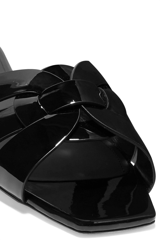 SAINT LAURENT Nu Pieds woven patent-leather slides
