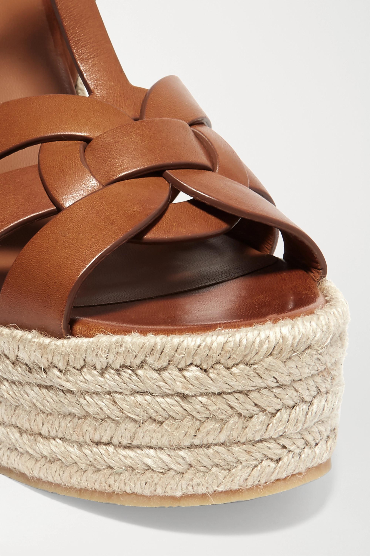 SAINT LAURENT Sandales compensées façon espadrilles en cuir tressé Tribute