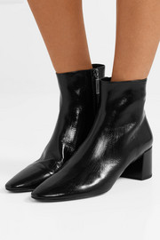 Lou crinkled glossed-leather ankle boots