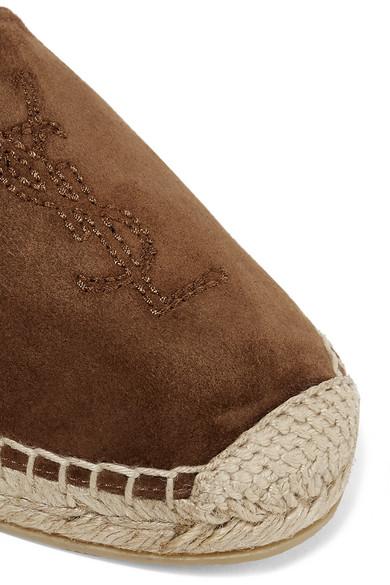 Saint Laurent Shoes Logo-embroidered suede espadrilles
