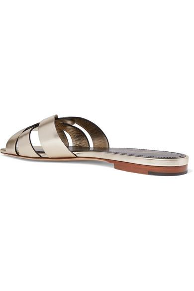 Saint Laurent Slippers Nu Pieds woven metallic leather slides