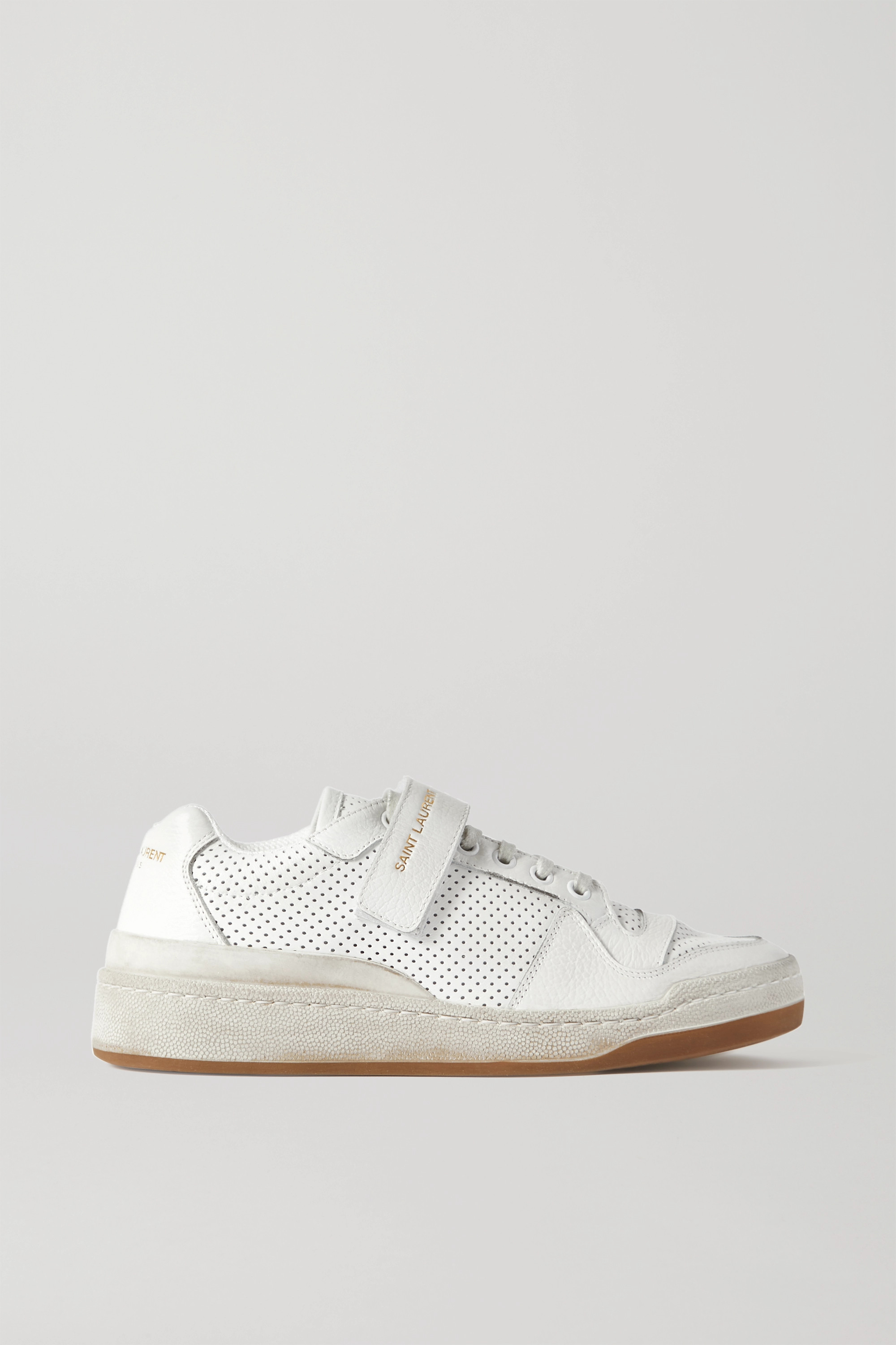 SAINT LAURENT Travis logo-print distressed perforated leather sneakers
