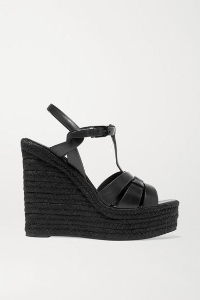 4d5f3188c SAINT LAURENT | Tribute leather espadrille wedge sandals | NET-A-PORTER.COM