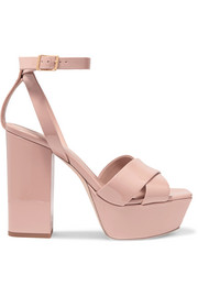 SAINT LAURENT Farrah patent-leather platform sandals