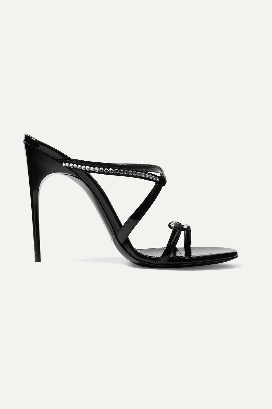 SAINT LAURENT Paris Minimalist crystal-embellished suede and patent-leather mules