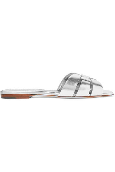 Nu Pieds Flat Metallic Calf Leather Slide Sandal in Silver