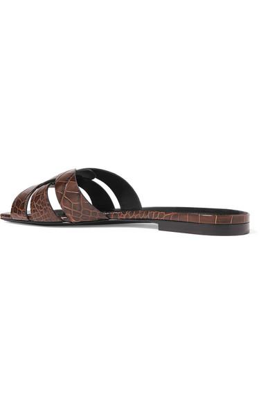 Saint Laurent Slippers Nu Pieds croc-effect leather slides