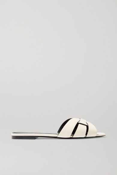 Saint Laurent Leathers Nu Pieds woven patent-leather slides