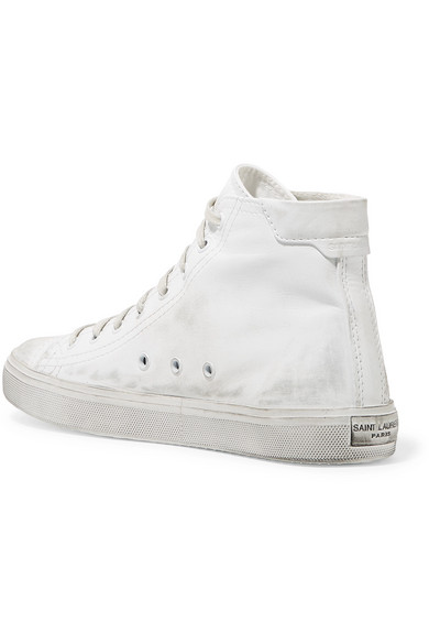 13731c17ce9 SAINT LAURENT. Bedford logo-appliqued distressed leather high-top sneakers
