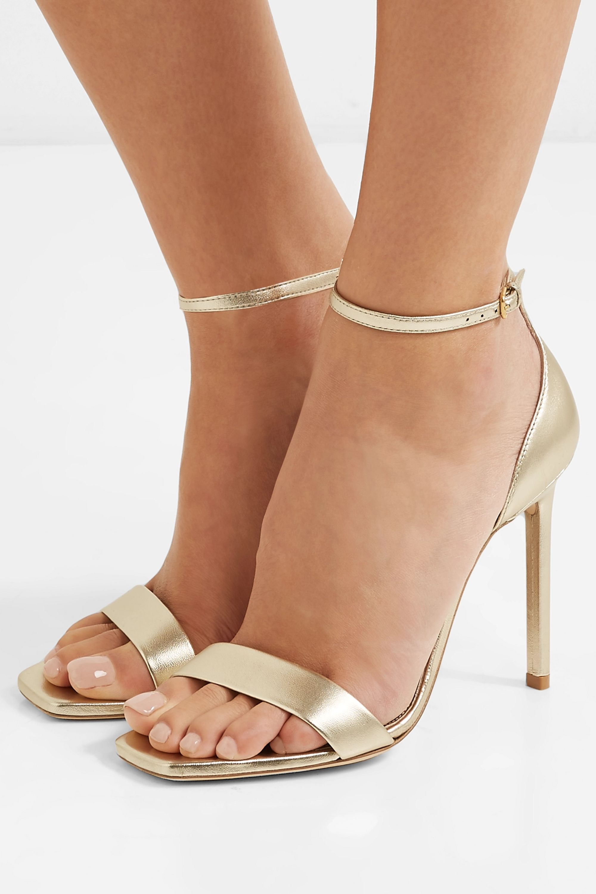 Gold Amber metallic leather sandals