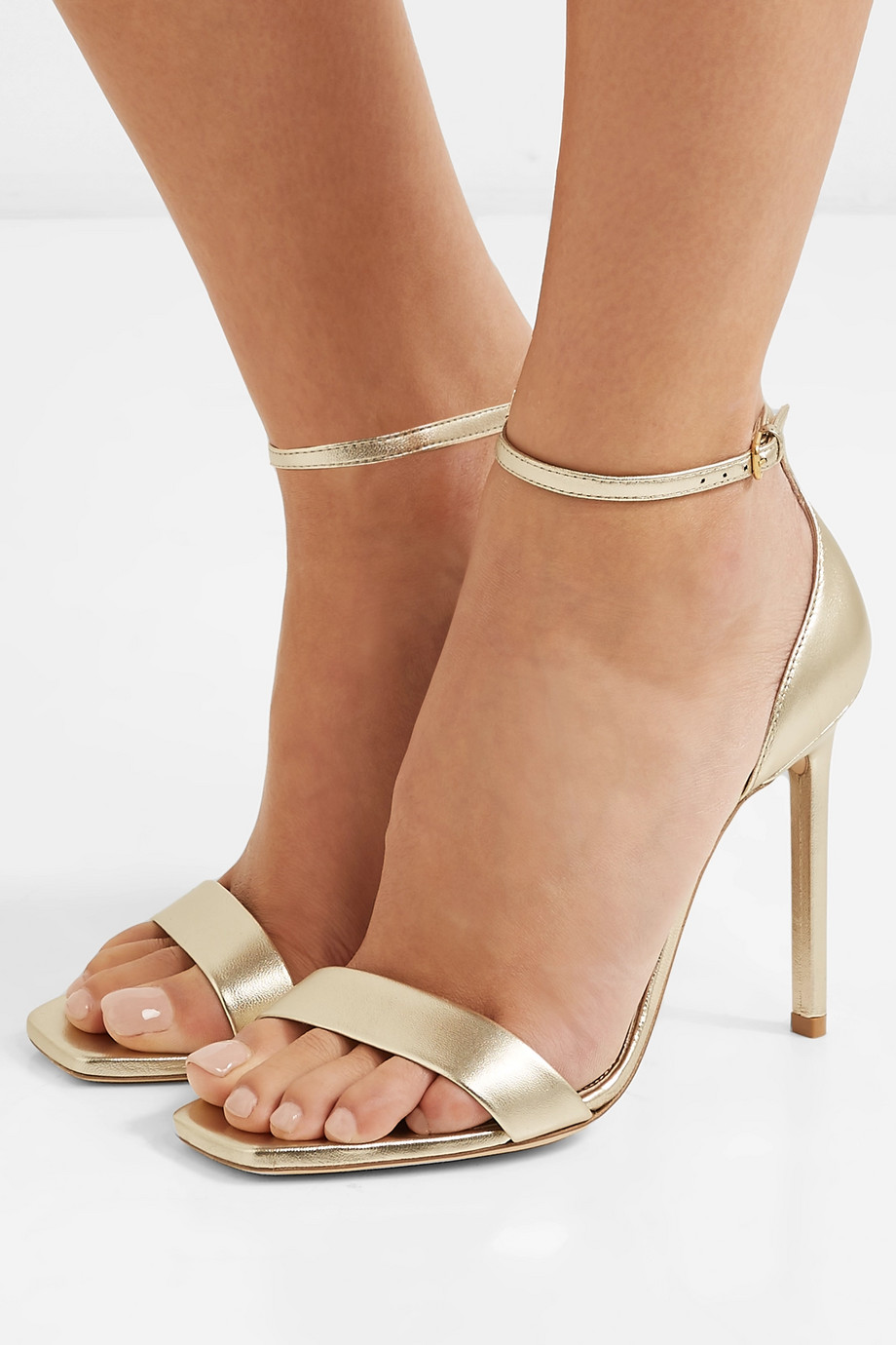 SAINT LAURENT Amber metallic leather sandals