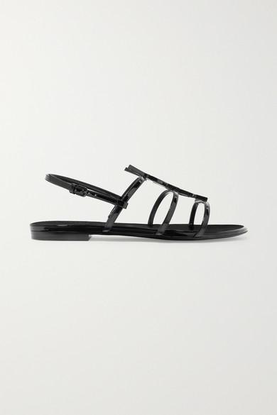SAINT LAURENT | Saint Laurent - Cassandra Logo-embellished Patent-leather Sandals - Black | Goxip