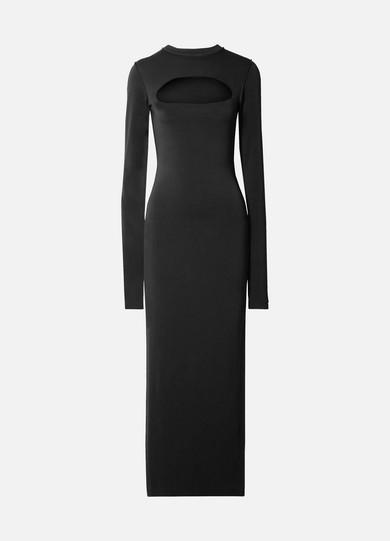 Reverse-Seam Stretch-Crepe Maxi Dress - Black Size S